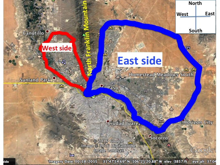 We have marked the west and east sides of El Paso. The partitions are basically the two sides of the North Franklin Mountain.