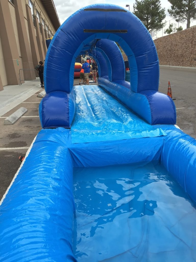 The other end of the slip and slide.