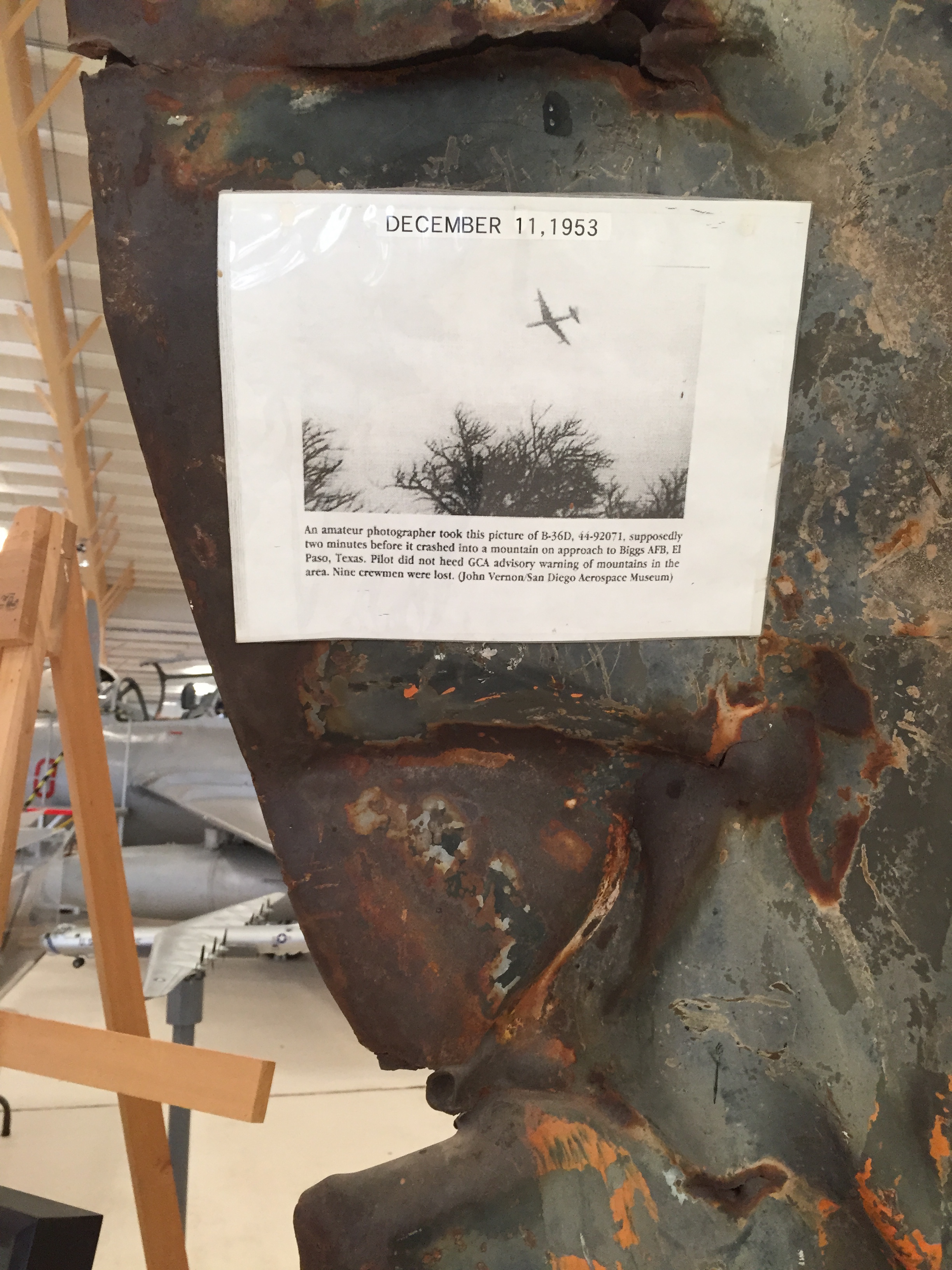 A piece of a fighter airplane that crashed into a mountain of El Paso in 1953.