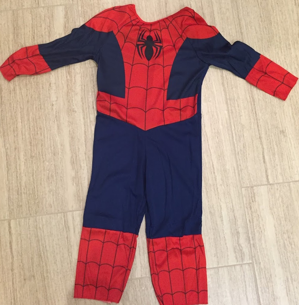 This is how the costume looked like before the DIY. Pretty cool! However, it will be hard for a four-year-old to pee or poop by himself while wearing this costume. The daycare required a Halloween costume for the whole day.