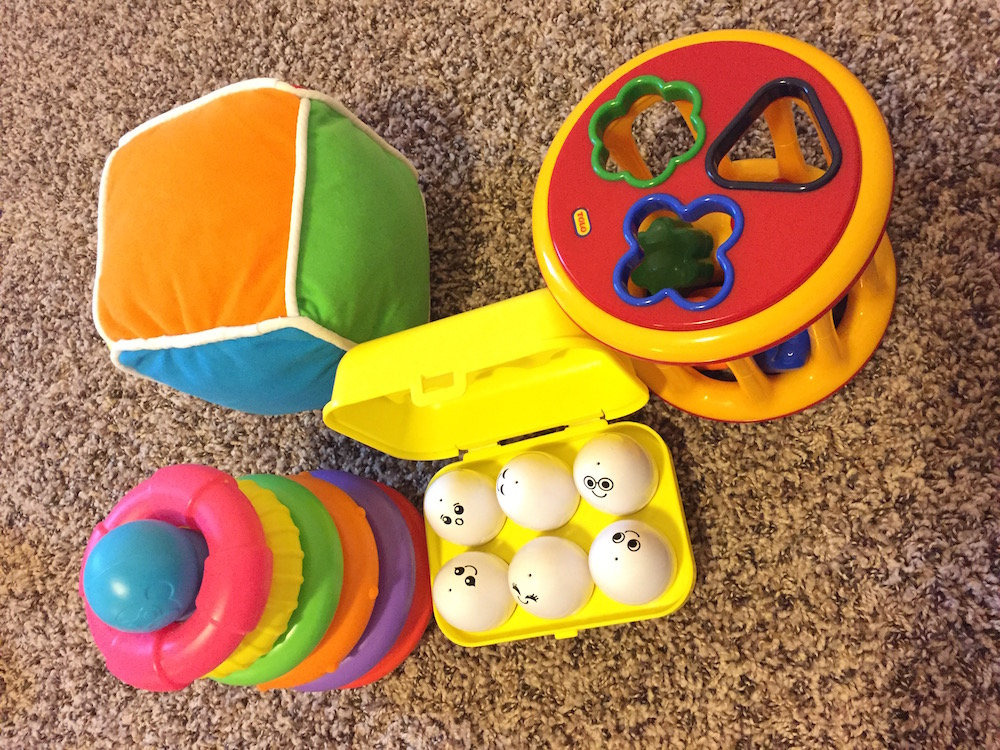 Figure: Some of the early age toys for stacking, sorting, and color recognition.