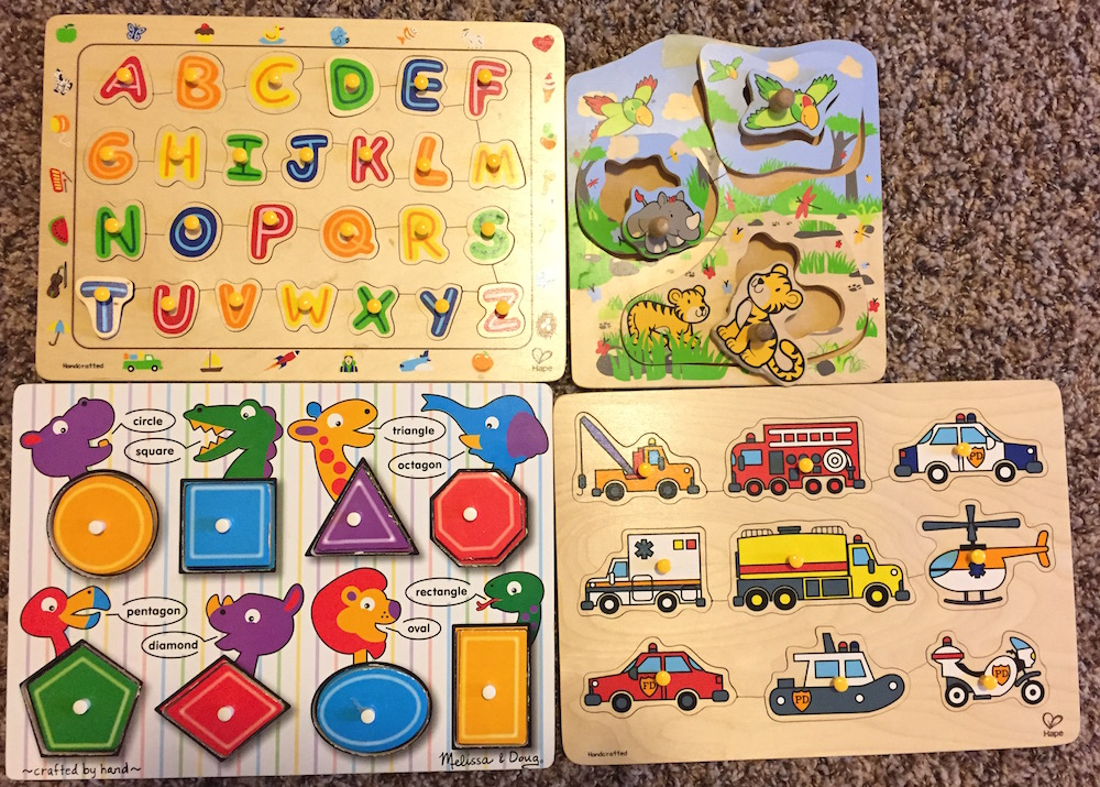 Figure: Peg puzzles suitable for kids of different ages.