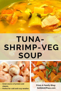 Tune, shrimp, and vegetable soup. A great source of protein and vitamin. #recipes #soup