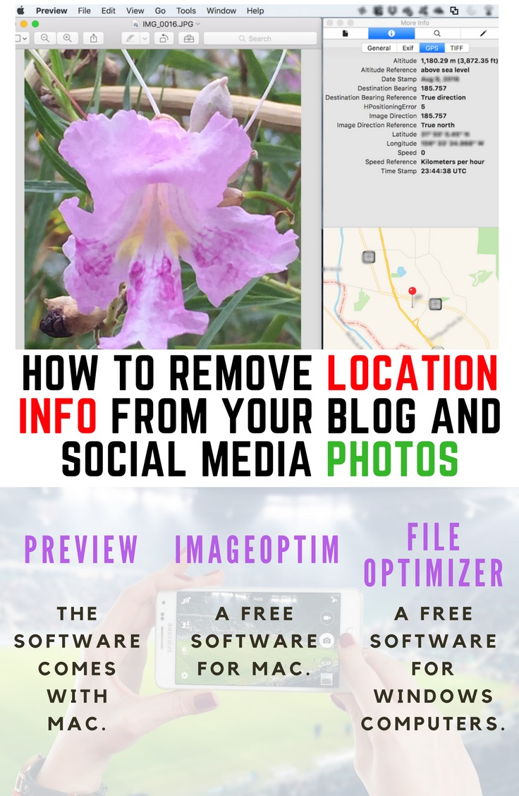 Remove location information from photos