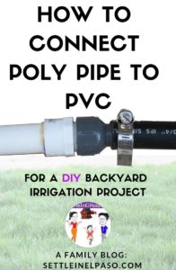 The post describes an easy DIY project on how to connect PVC to poly pipe. #diy #irrigation #gardening #pvc #polypipe #irrigationdiy