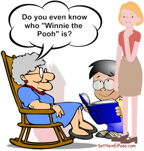 Great grandma asks, Do you know who Winnie the Pooh is.