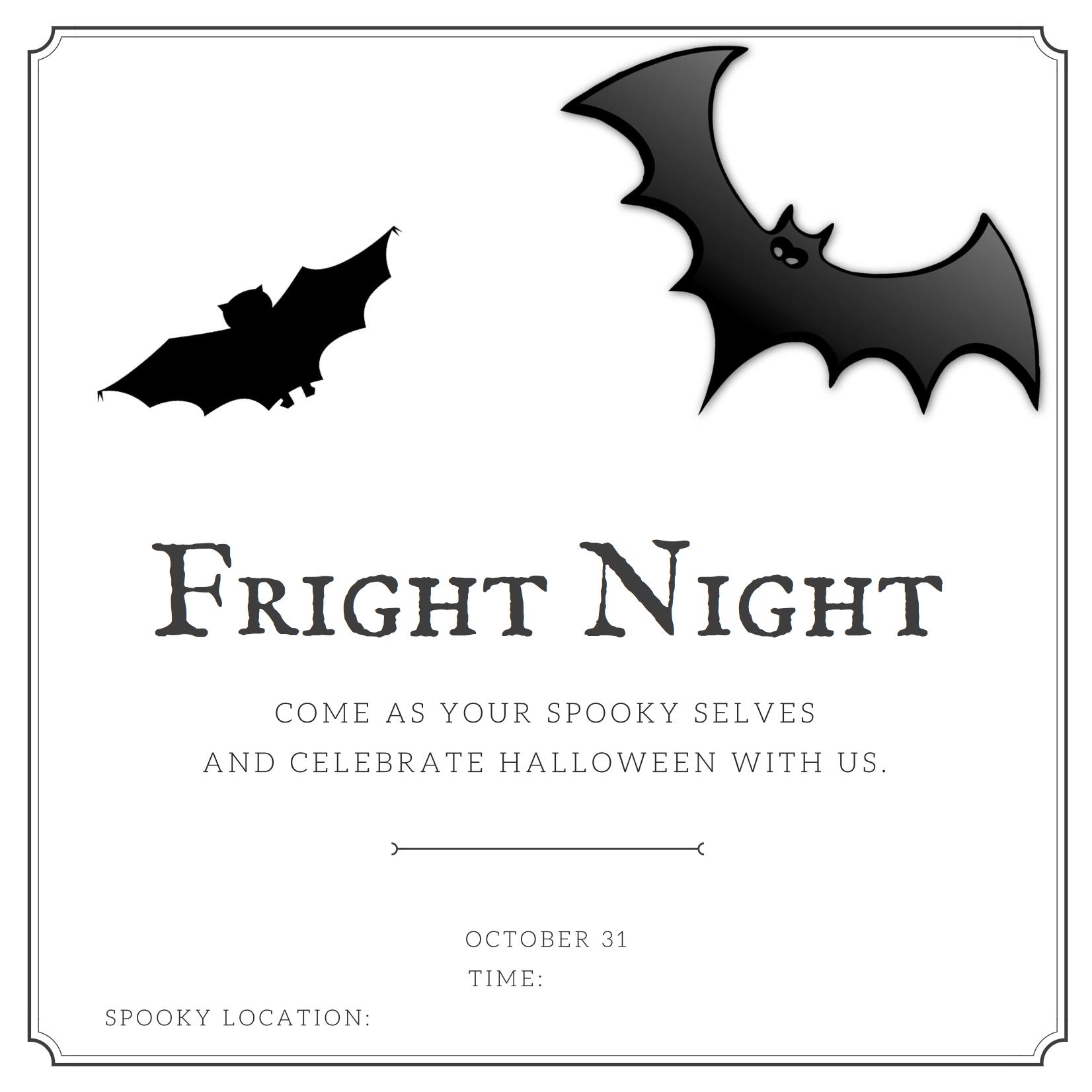 Fright halloween night. Free invitation card.