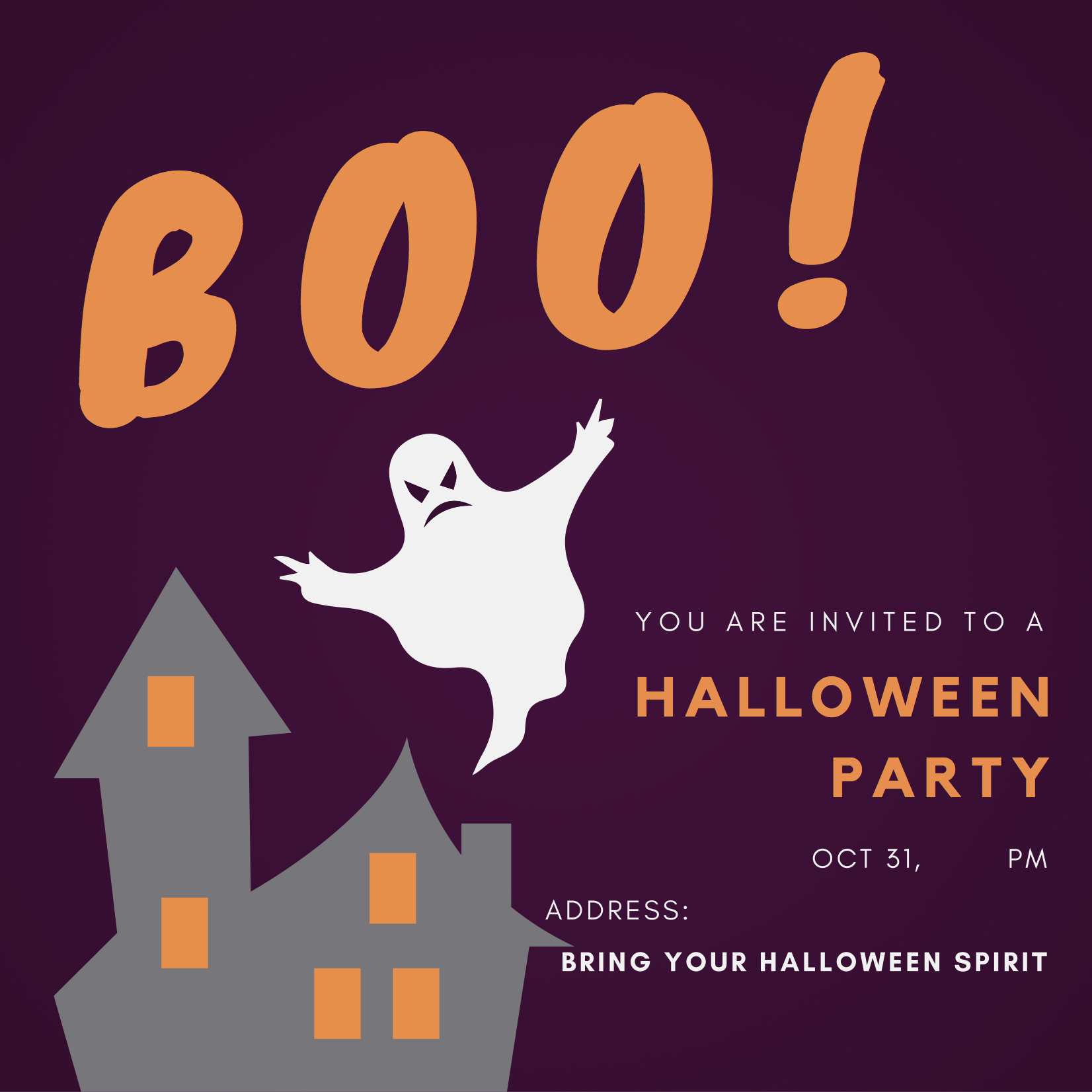 Haunted House Halloween Party Invitation. Bring Your Halloween Spirit.