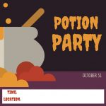 Halloween invitation card. Potion party.