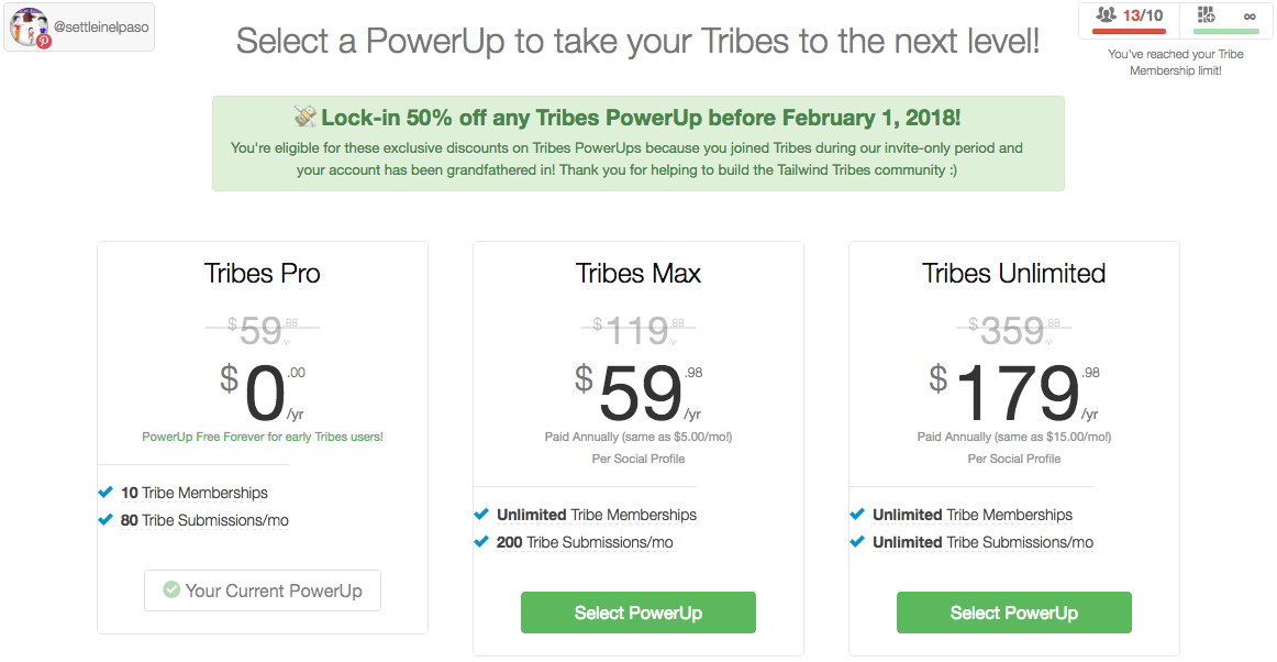 Tailwind tribe pricing for early testers