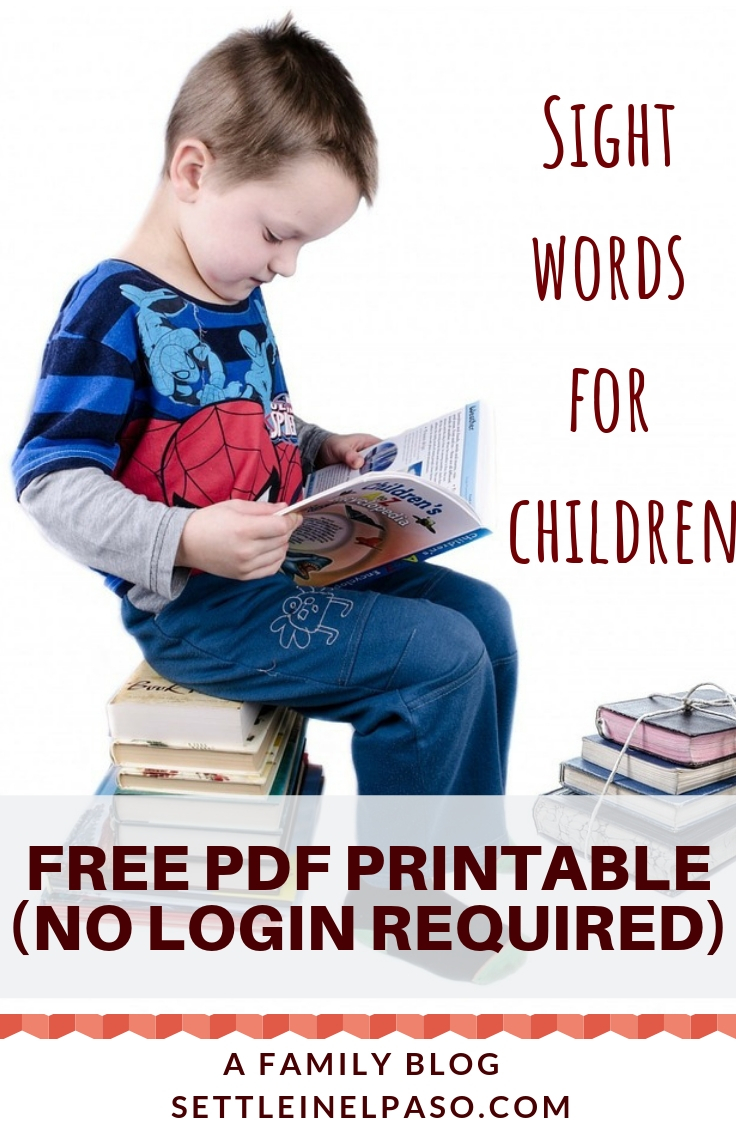 Free download of PDF file for sight words. No login required. #printable #sightwords #children #kids #kindergarten