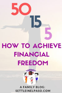 Financial freedom using 50 15 5 rule. The magic mantra to financial freedom for any family or person is: save money and get out of debt. Live a frugal life as much as possible. #saving #moneysaving #financialplanning #frugal #frugalliving""