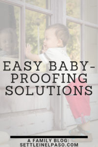 Baby proofing your home does not have to be expensive. The post describes how to baby-proof home with inexpensive items. #kids #babyproofing #safety #toddler