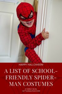 Little children face hard tome in using the toilet in school with costumes. The article provides a list of spiderman costumes that have separate pants. #spiderman #halloween #costume #halloweencostume