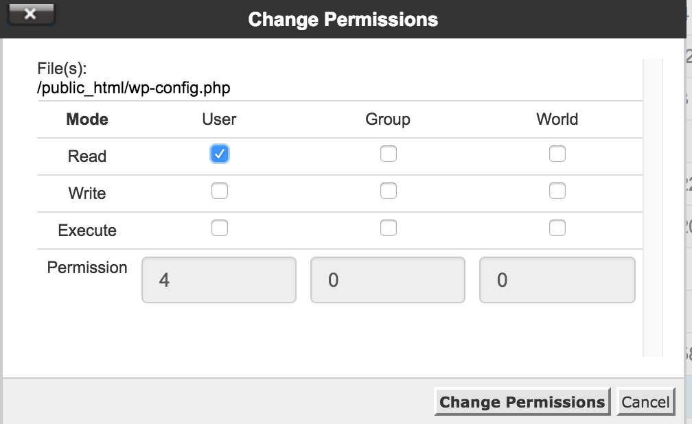 Change Permissions to 400 for wp-config.php