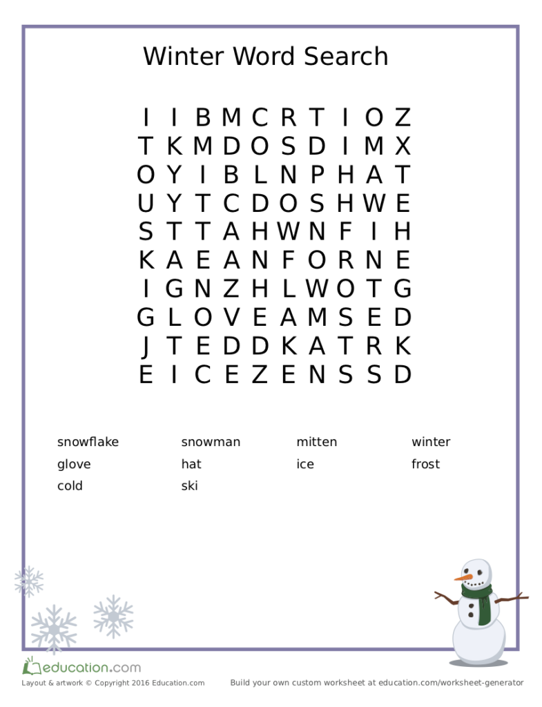 Spelling wordsearch in snowman  theme. #kids #spelling #wordsearch #worksheet