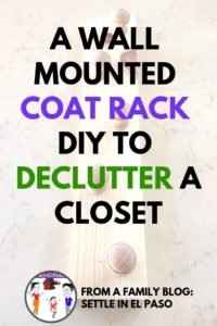 Wall mounted coat rack diy. The article describes how to build a wall mounted coat rack using wood. The rack can be used to hand hats, scarfs, and bags. #woodworking #declutter #diy WoodworkingDIY #DIYWood